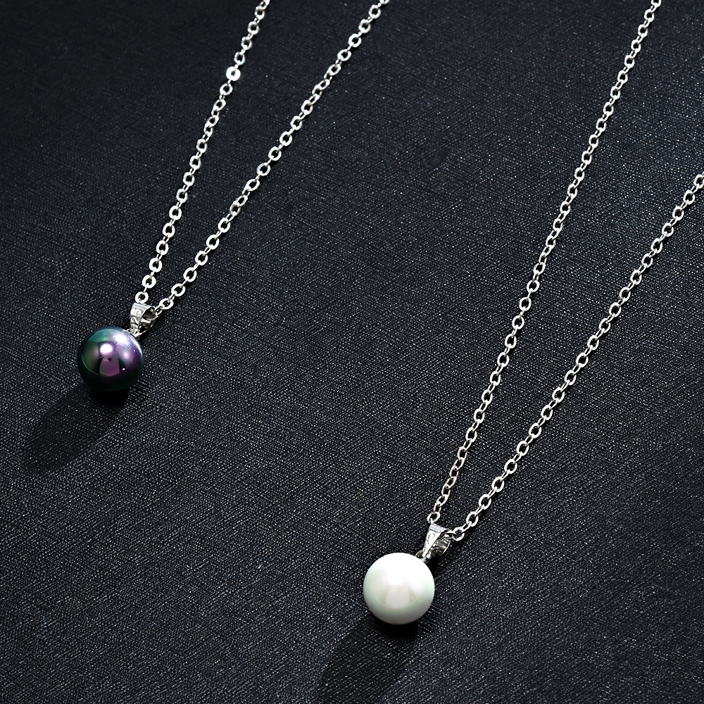 2020 New Womens Fashion Genuine Natural Black White Freshwater Pearl Pendant Necklace Chain Jewelry For Women