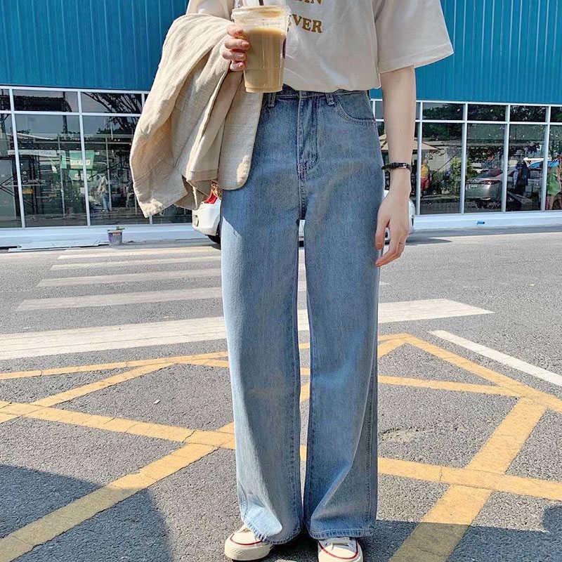 Lizkova Jeans Mujer Vintage Pantalones rectos azul claro alta cintura papá  pantalones vaqueros 2020 estilo coreano Streetwear MT6526 Pantalones  vaqueros  - AliExpress