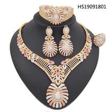 Yulaili Fashion Women Austrian Crystal Pendant Necklace Earrings Bracelet Ring Dubai Jewelry Sets Sweden Wedding Accessories недорого