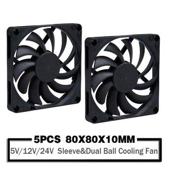 5PCS 5V 80mm USB Fan 12V 24V x x10mm 2PIN/3PIN  Computer Case PC Latop CPU Cooling Sleeve/Ball Bearing