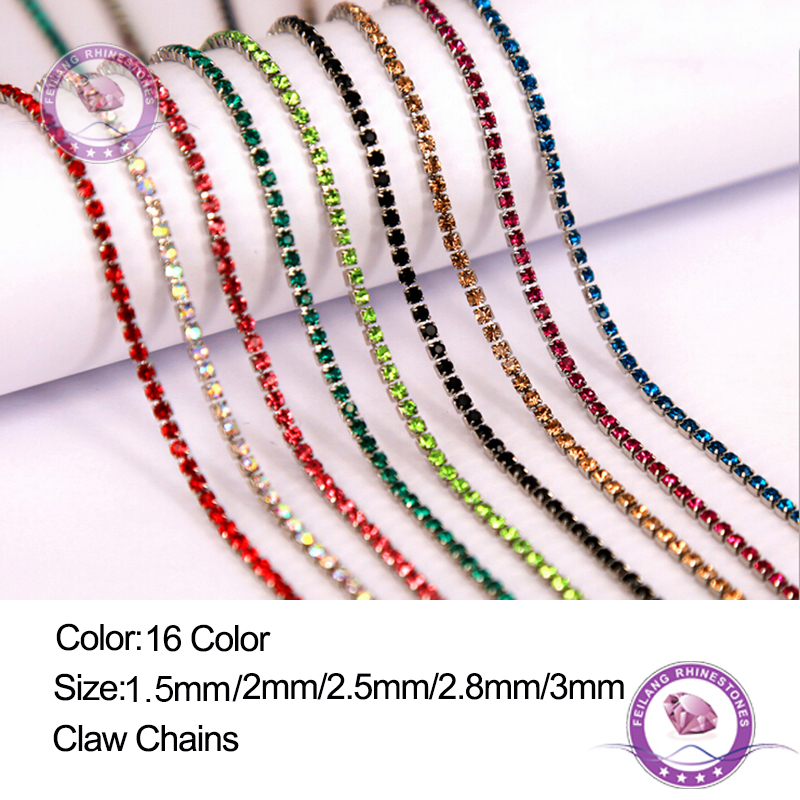 Feilang 2 jardas/lote 16 cor transparente strass corrente 1.5/2/2.5/2.8/3mm para diy artesanato artesanato costura acessórios de roupas