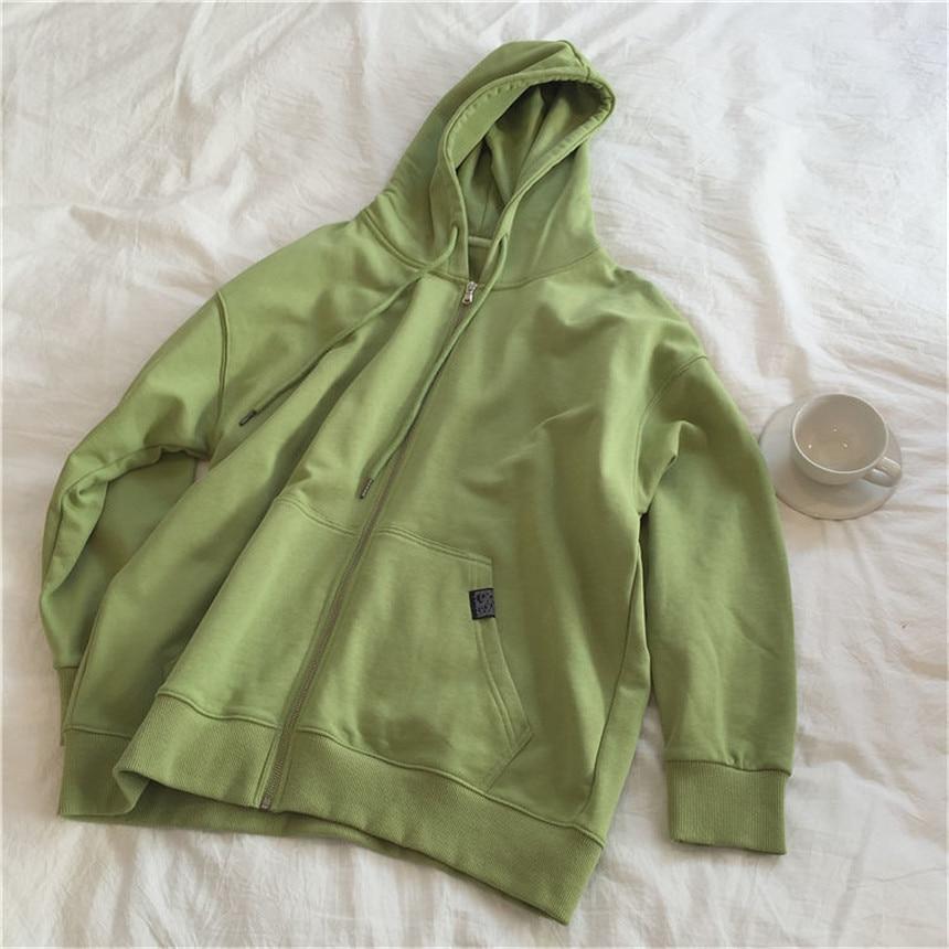 Harajuku with hat hoodies women zipper kangaroo pocket casual loose solid color sweatshirt female 2020 fashion new female tops 12