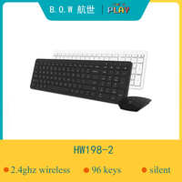 B.o.w 2.4ghz teclado (96 teclas) e mouse combo  sussurro-silencioso teclado sem fio para computador desktop/portátil