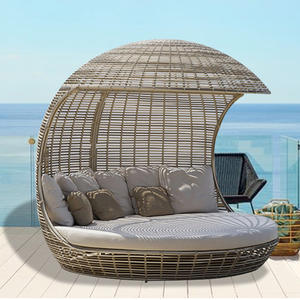 Sofa Outdoor Rattan-Chairs-Sets Lounger Balcony Lying-Bed Villa PU