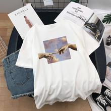 Camisa de t oversized harajuku estética michelangelo impresso camisetas femininas grunge roupas estéticas mão senhoras topo camiseta feminina