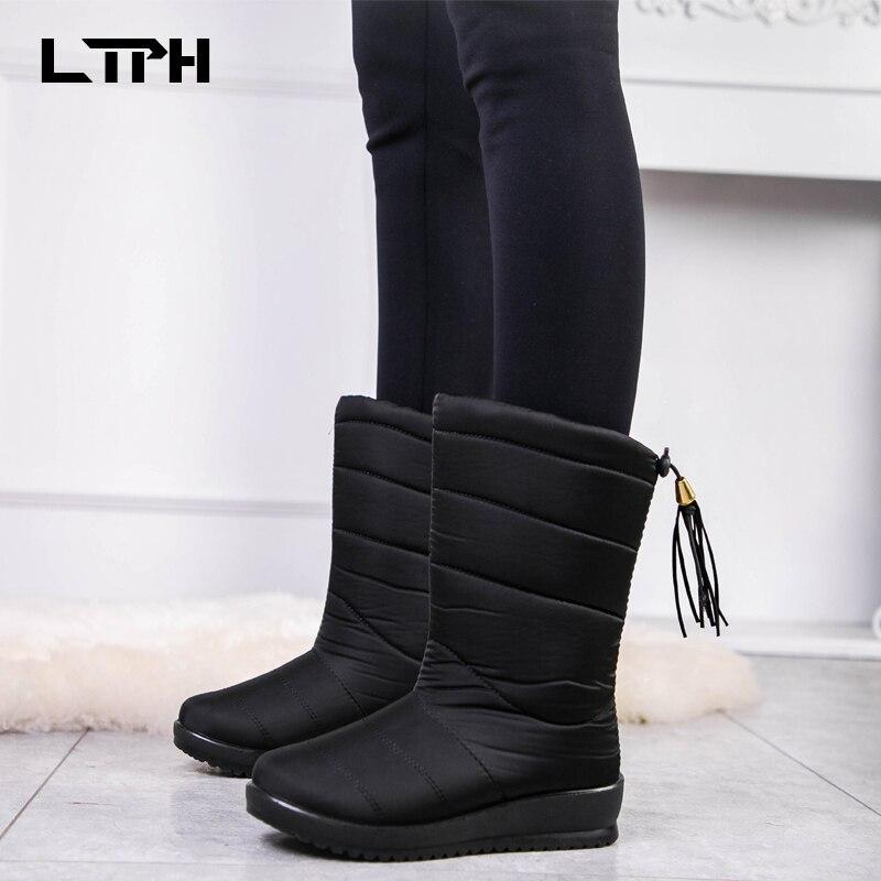 LPTH Snow Boots 2020 Women's Winter Shoes Mid-calf Waterproof Calf Snow Boots Warm Fur Wedge Women Boots Shoes Women's Shoes