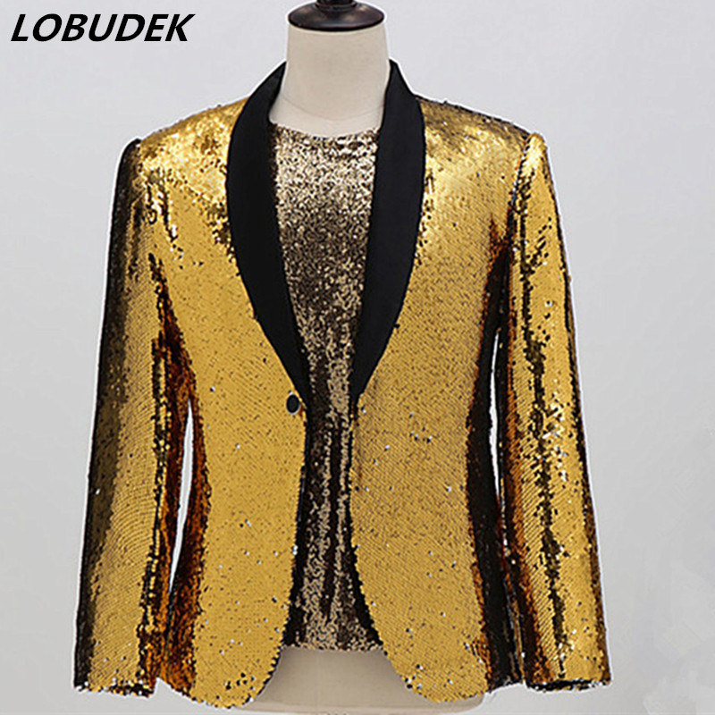 Men Shawl Collar Gold Sequins Blazers Slim Suit Jackets Stage Casual Coat Evening Performance Concert Singer Host Blazer Costume