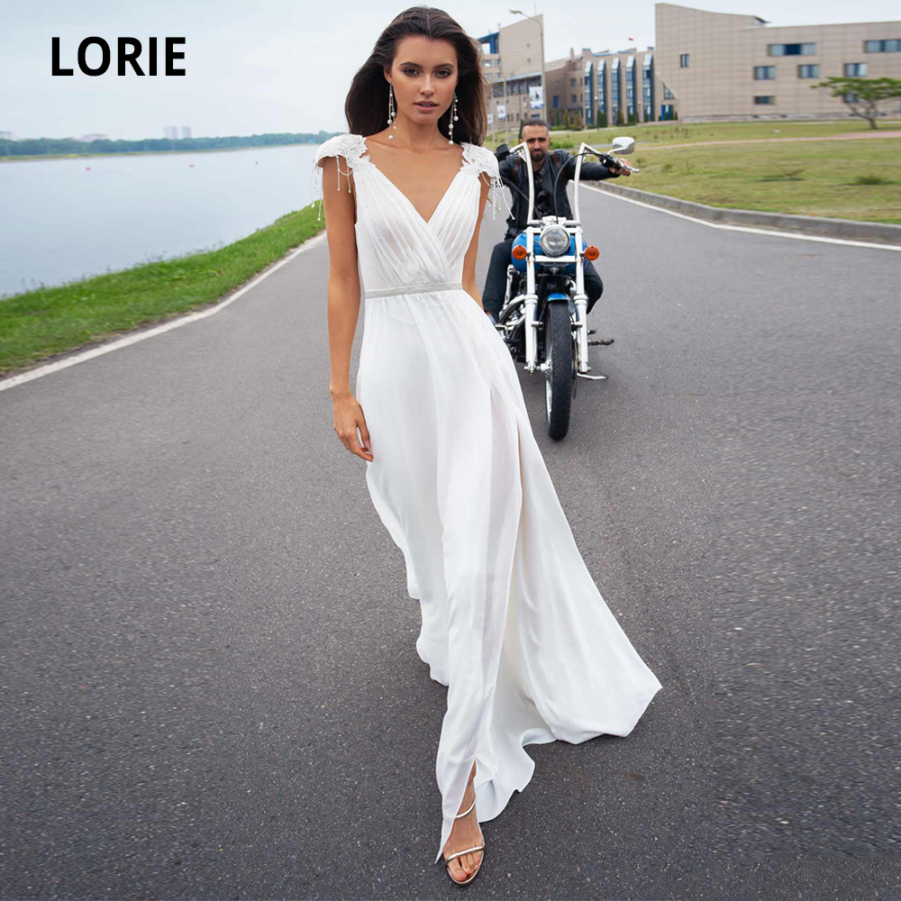LORIE Beach Wedding Dresses Chiffon White 2020 V-neck Bridal Gowns Open Back Beading Bohemian Bride Dress With Slit Plus Size