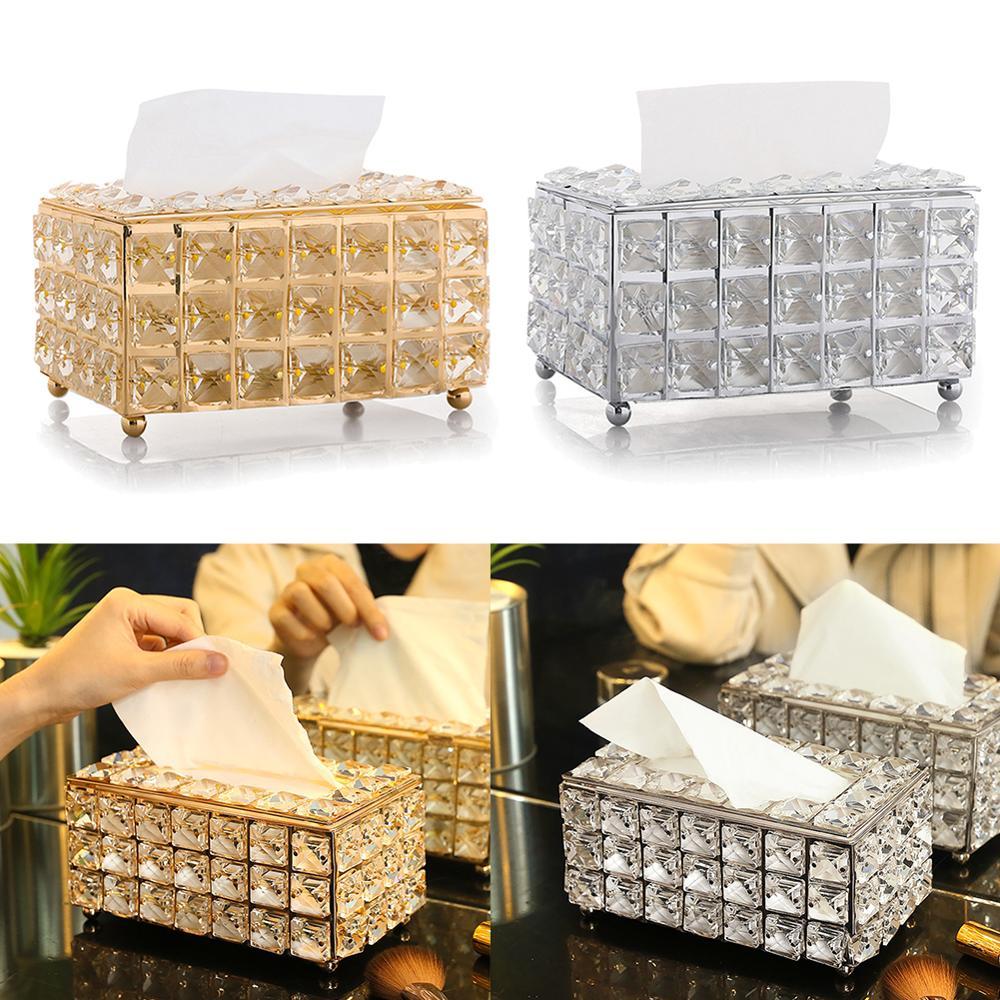 European-style Square Crystal Tissue Box Home Bar KTV Table Decoration Living Room Tea Table Drawer Case Tissue Holder