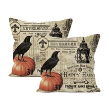 2 Pcs Halloween Pumpkin Crow Single-sided Pattern Pillow Cover Sofa Throw Cushion Decor