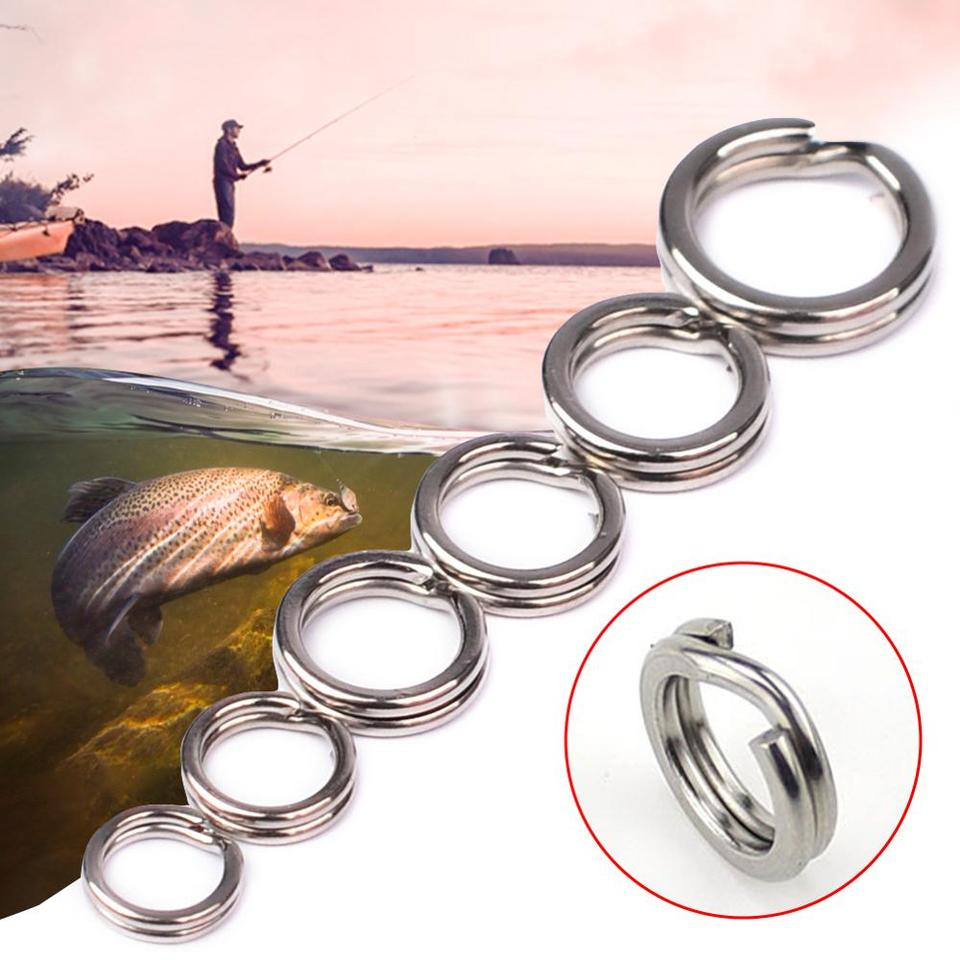 100Pcs Ball Bearing Swivels Double Round Split Rings Connectors Fishing Tackle