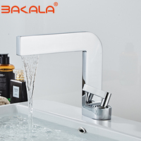 BAKALA Matte Black/white Basin Faucets CHROME Modern Washbasin Faucet square design Bathroom sink Crane Cold Hot Water Mixer Tap