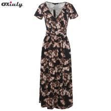 Oxiuly Criss-Cross Deep V neck Floral Print Party Work Women OL Office Knee Length V-Neck Short Sleeve Vintage Tea Swing Dress