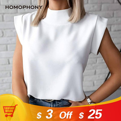 Homophony Woman T-Shirt Fashion Mini Sleeve Mabdarin Collar Elegant Tops for Women Clothing Vintage Casual Frau T-Shirts
