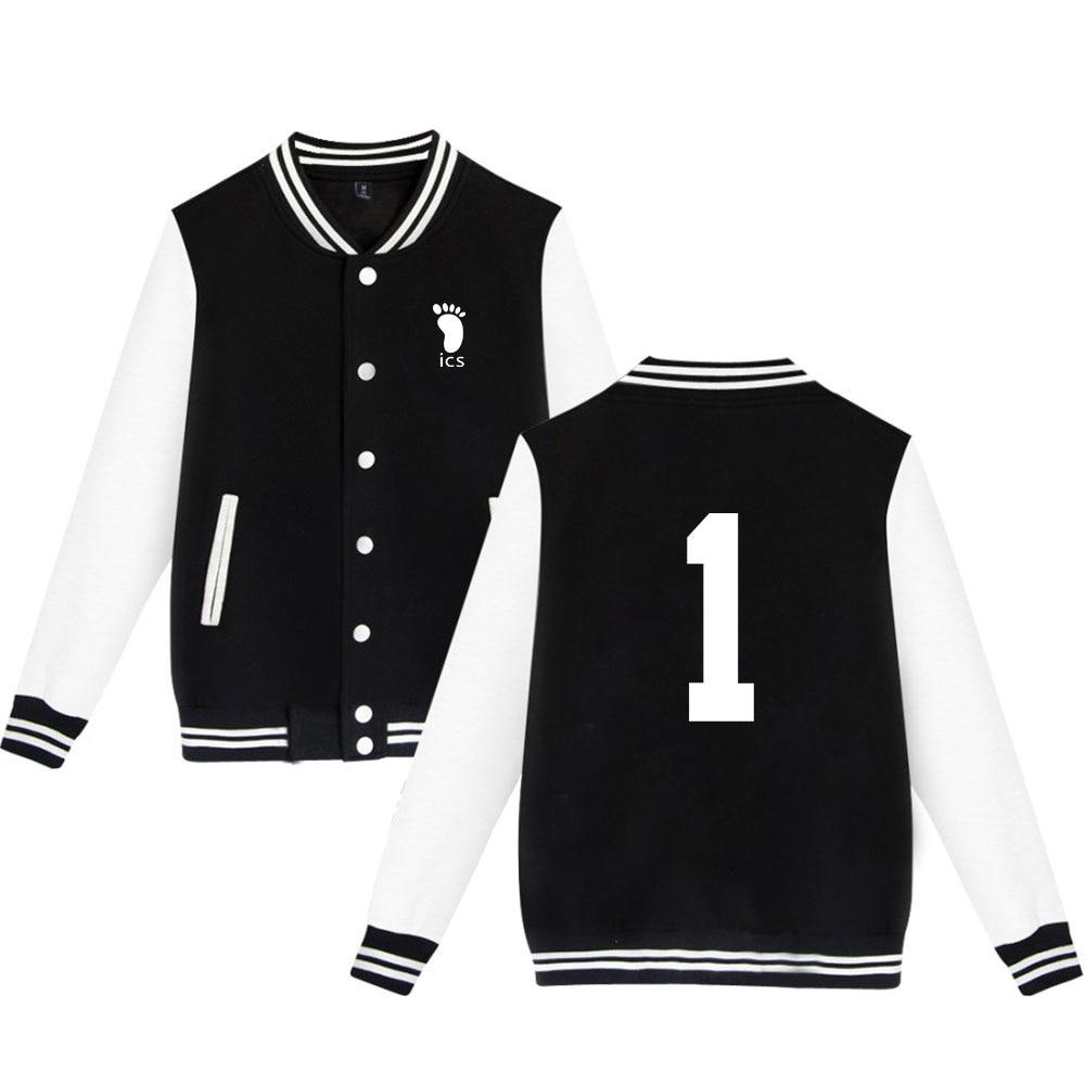 Anime Haikyuu Baseball Jacket Men/women Streetwear Men's Clothing Long Sleeve Cotton Sweatshirt Casual Full Print Stand Regular