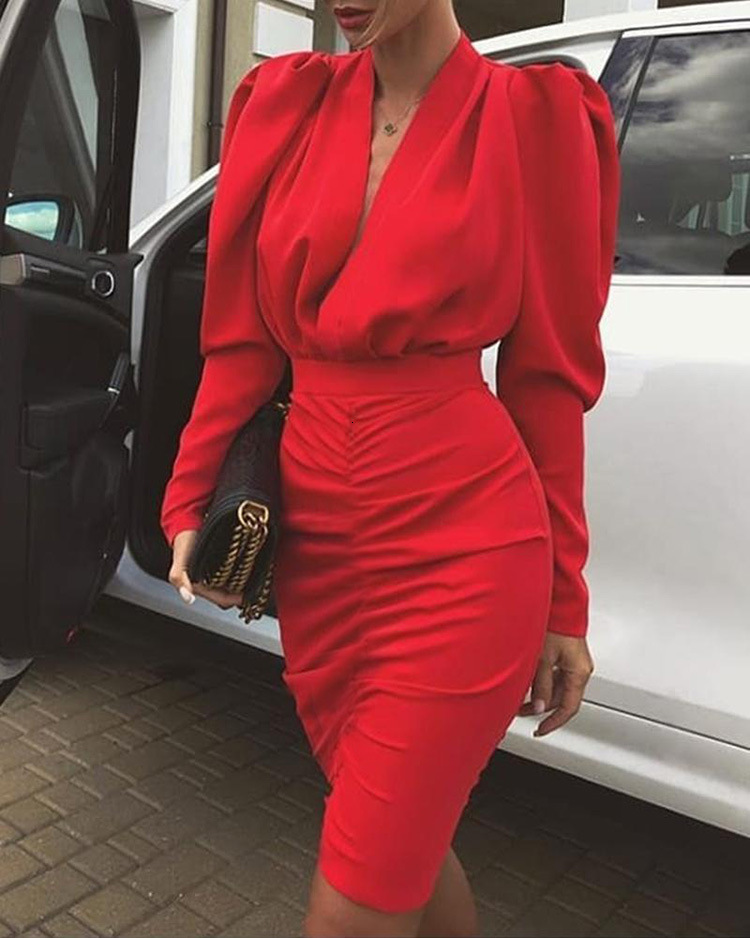 BacklakeGirls New Arrival Sexy V Neck Bubble Long Sleeve Red Cocktail Dress 2020 Real Pictures Cheap Party Gowns Robe Cocktail