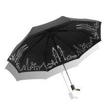 Всепогодный виниловый зонтик с защитой от ультрафиолета, студенческий зонт, три складных солнцезащитных зонта, настраиваемый рекламный зонтик