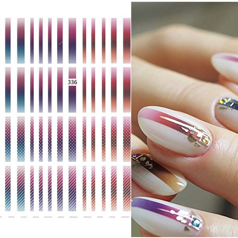 1 Sheet Line Patterns 3D Nail Sticker Gradient Adhesive Nail Art Transfer Stickers Nail Decorations DIY Idea Nail Accessories