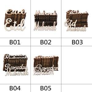 Image 5 - 15/30/60 個イードムバラク diy 木材チップ小道具ホーム iftar パーティーデコ用品イスラム教徒イードムバラクラマダン木製アルファベット飾り