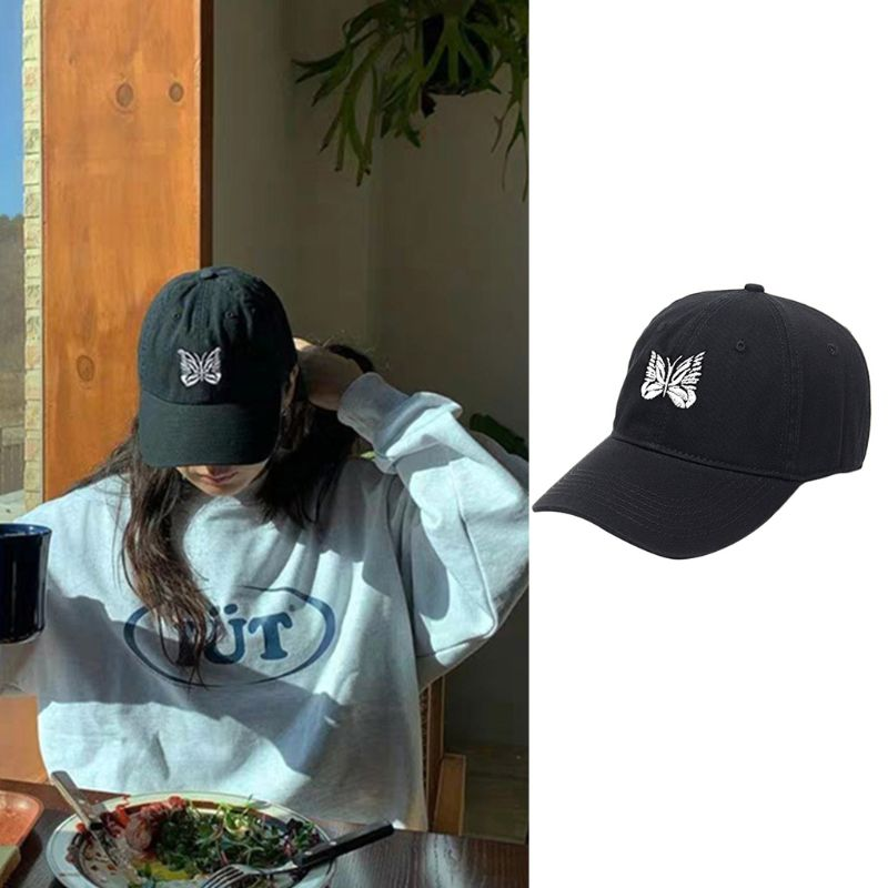 Unisex Harajuku Black White Baseball Cap Butterfly Embroidery Hip Hop Peaked Hat