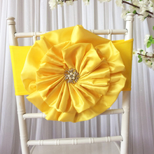 Hot Sale 10PCS    Taffeta Big  Flower With Brooch Spandex Chair Band for Wedding Party