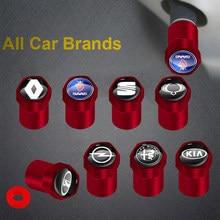 Tapas de válvula de neumático de rueda de coche, accesorios de Metal rojo para SsangYong Actyon Rodius Rexton Korando Kyron, productos automotrices, 4 Uds.