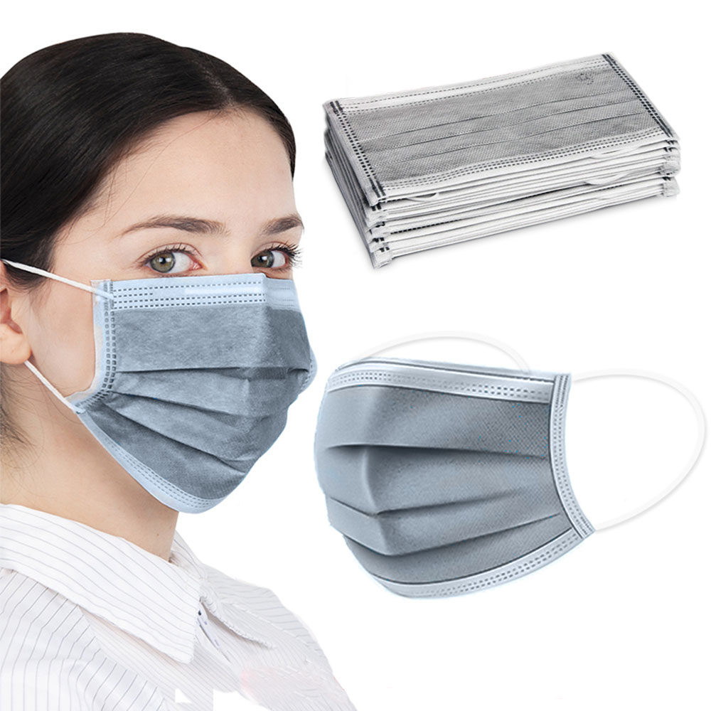 100PCS Face Mask Virus Protection 4 Layers Carbon Mask Activated Bamboo Carbon Face Mouth Masks Breathable Anti Dust Anti-fog