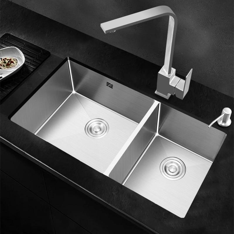 kitchen sink double bowl under counter basin 304 stainless steel thick manual sink kitchen sinks undermount kitchen bowl set