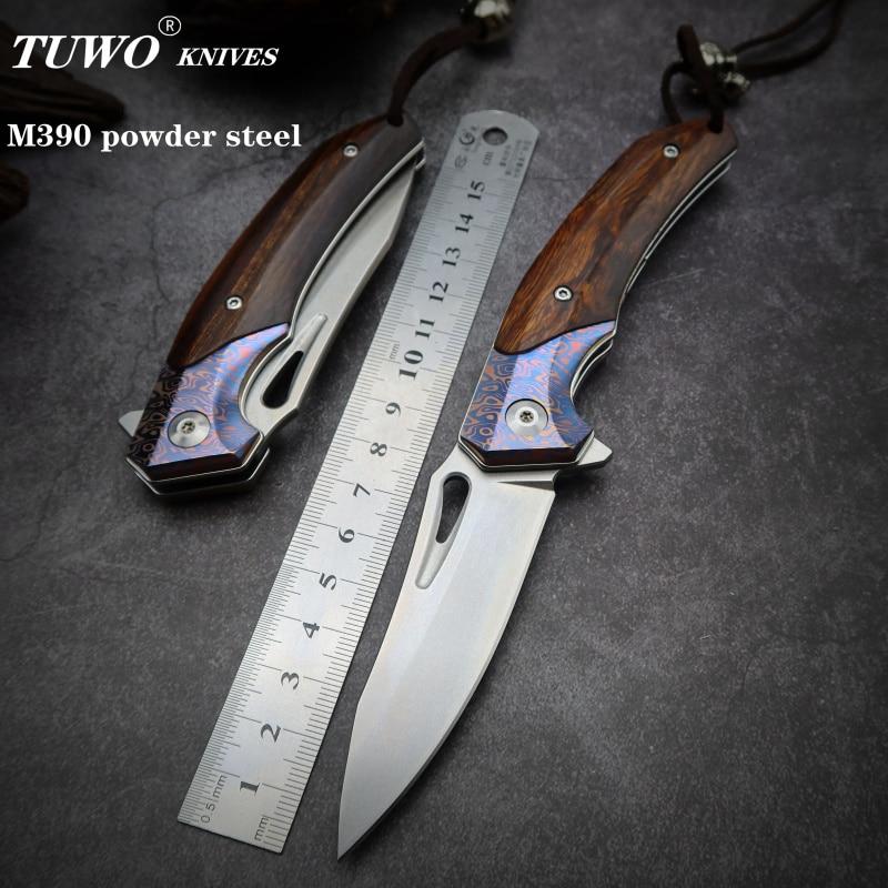 TUWO ножи M390 порошок стали EDC портативный для использования на улице складной нож карманный нож шарикоподшипник нож с деревянной ручкой|Ножи|   | АлиЭкспресс