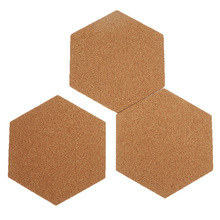 8/16/24 Pcs ffice Home Wood Photo Background Hexagon Stickers Self-Adhesive Cork Board Tiles Wall Drawing Bulletin Boards