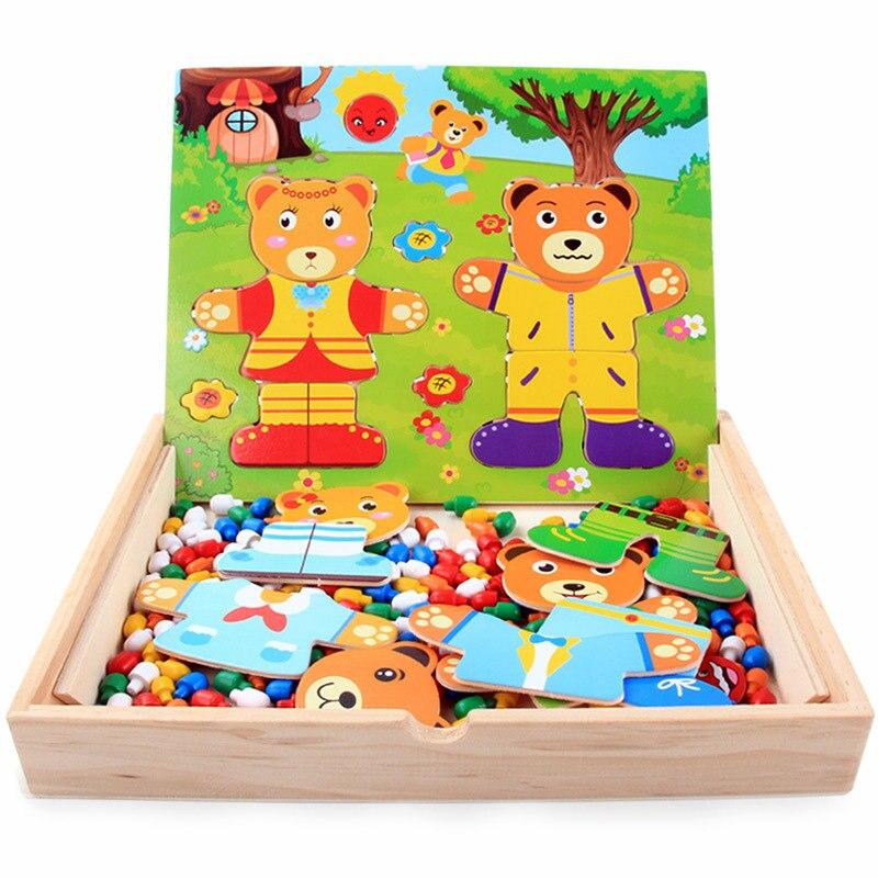 urso vestido mudando cogumelo combinacao prego combinacao criancas brinquedo de madeira vestir quebra cabecas montessori brinquedos