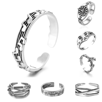 New Simplicity Watch Ring Retro Silver Color Alloy Music Notes Ring Prom Dating Ring Women Girls Jewelry Gift Adjustable Opening 1
