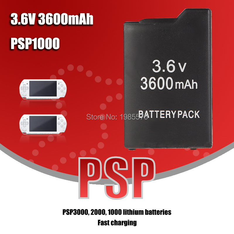1PCS PSP1000 Battery Pack For Sony PSP-110 PSP 1000 Console Gamepad Real capacity 3600mAh 3.6V Rechargeable batteries 6
