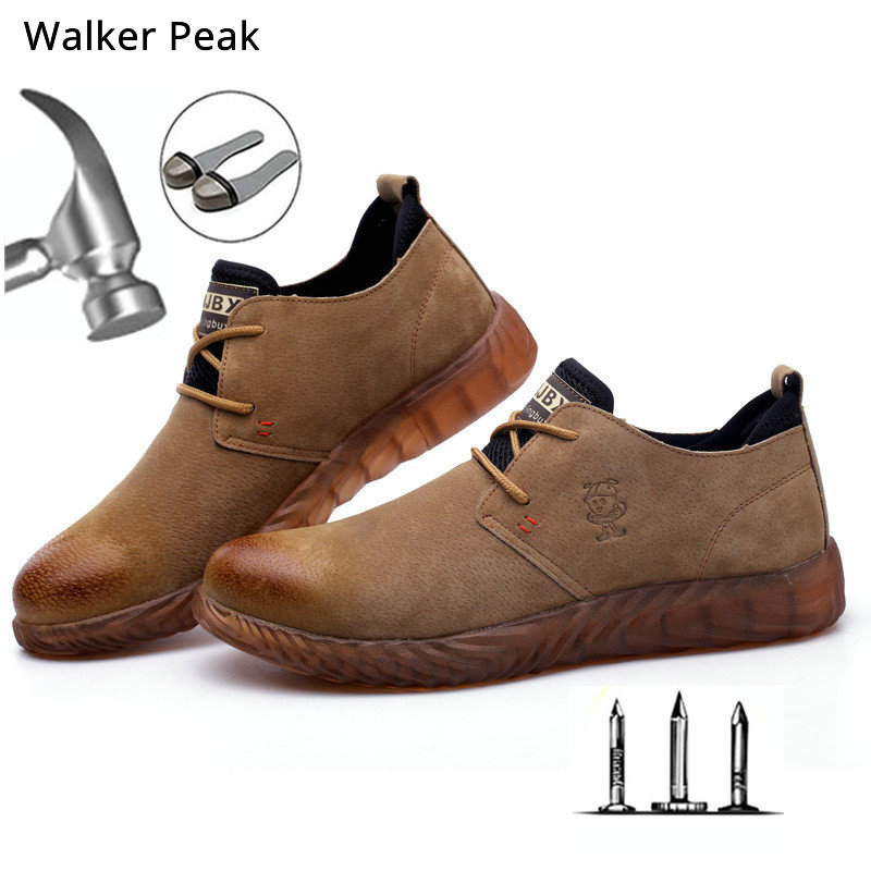 Size 36-45 Casual shoes Mens Steel Toe Genuine Leather Flats Men's Work Sneakers Puncture-Proof Safety Boots Brand Walkerpeak image