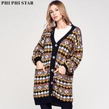 цены на Phi Phi Star Brand Autumn and Winter Long Jacquard Cardigan Sweater Knit Jacket for Women Female Cardigan Clothes Plus Size Coat  в интернет-магазинах