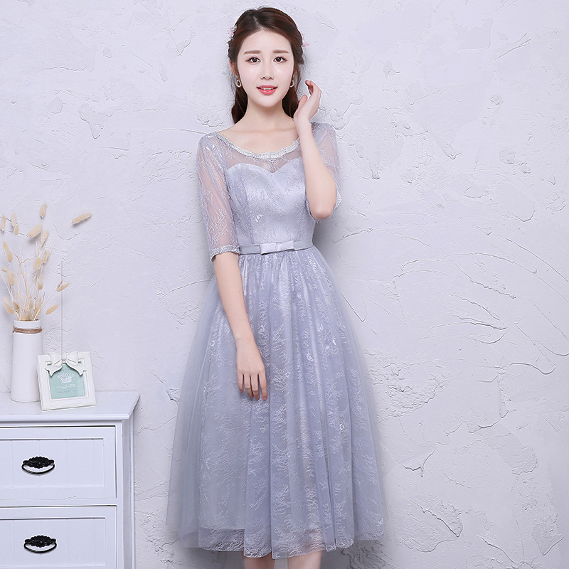 Gray Burgundy Bridesmaid Junior Dress For Wedding Party For Woman Tulle Tea-Length Short Party Dress Sister Elegant Sexy Prom