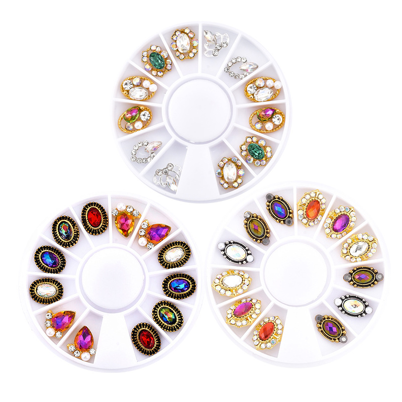 Nail Sticker Manicure 12 Grid Round Plates Box Mixed Decorations Ellipse Alloy Diamond Set ABS Imitation Pearl Decorations Whole