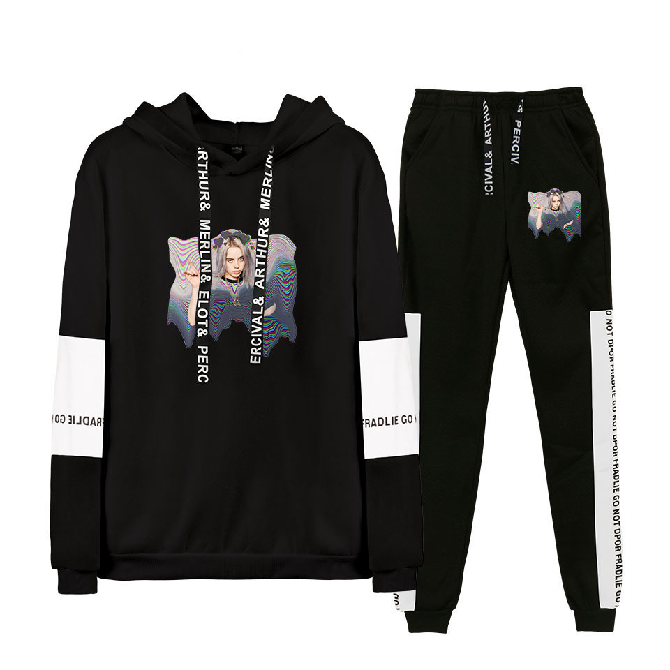 Europe And America Hotspots Hot Sales Bilie Eilish Europe And America Singer Plus Velvet Hoodie Sweatpants Set