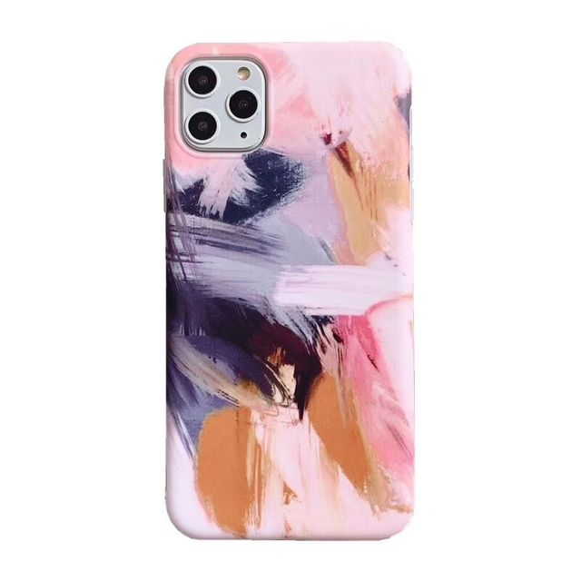LOVECOM Abstract Art Oil Painting Phone Case For iPhone 11 Pro Max XR XS Max 6 6S 7 8 Plus X Graffiti Matte Soft IMD Back Cover