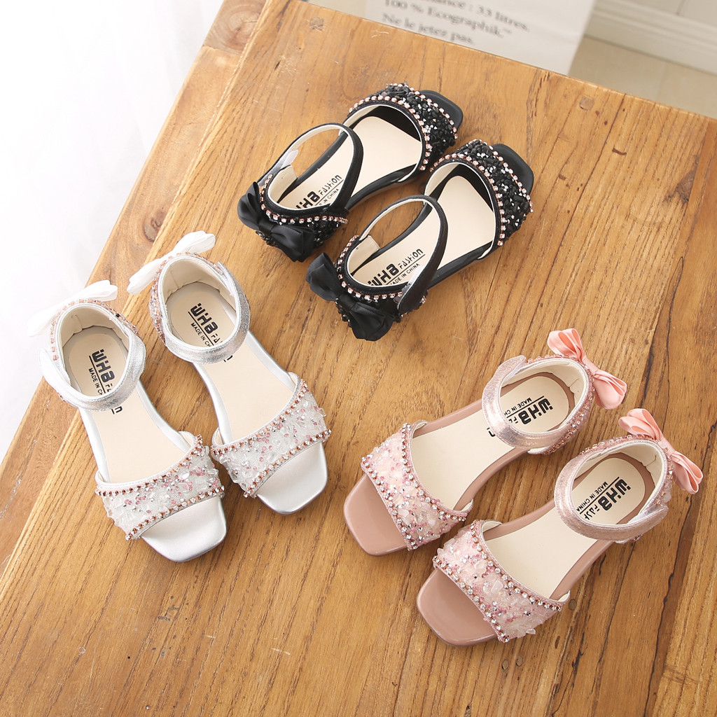 Toddler Infant Kids Shoes Baby Girls Crystal Bowknot Single Princess Shoes Sandals For Girl Summer Children Formal Shoes 2019