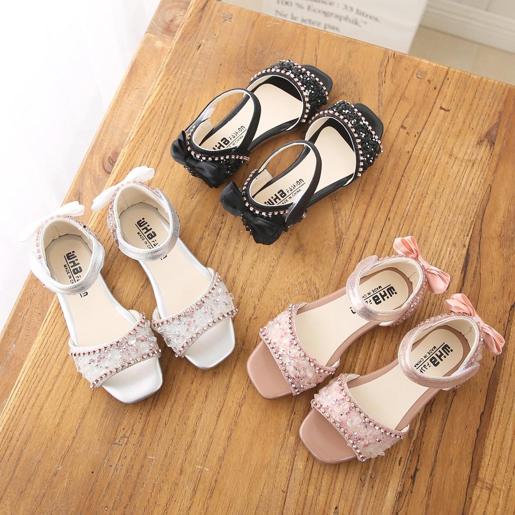 Toddler Infant Kids Shoes Baby Girls Crystal Bowknot Single Princess Shoes Sandals For Girl Summer Children Formal Shoes 2019