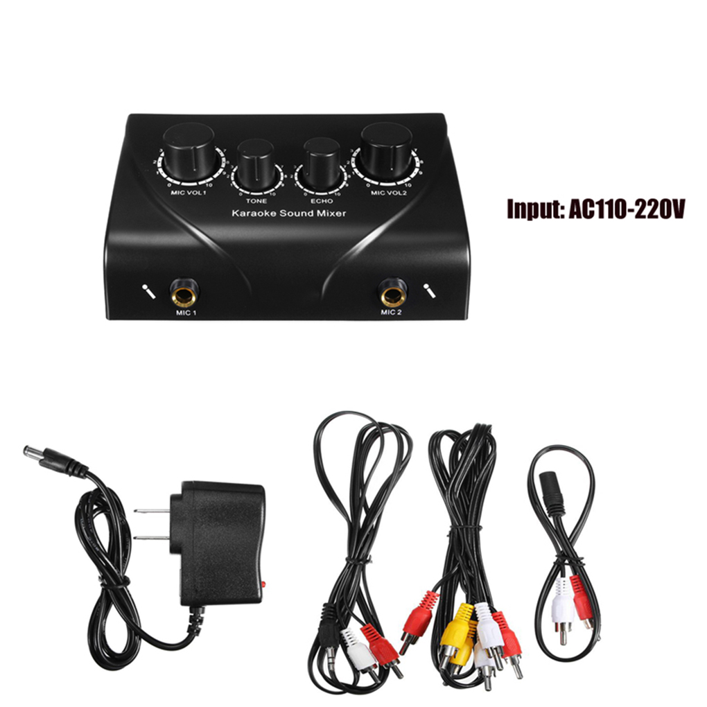 Sound Mixer Dual Mic Inputs Company Stage Home KTV Rooms Digital Karaoke Professional Audio System Machine US Plug