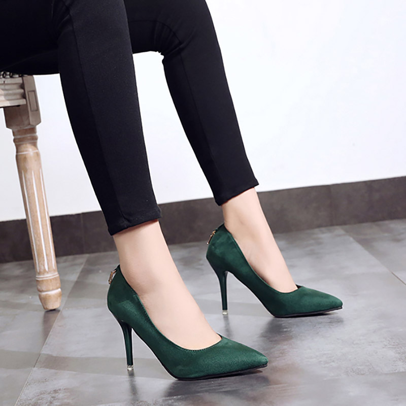 Concise Wild Female Single Shoes Korean Fashion Pointed High Heels Shallow Mouth Sexy Suede Work Shoes Concise Womens Pumps