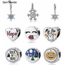 Подлинное 925 пробы серебро очарование бисера Дерево Санта-Снежинка, подходят к оригиналу Pandora, браслет DIY ювелирные украшения