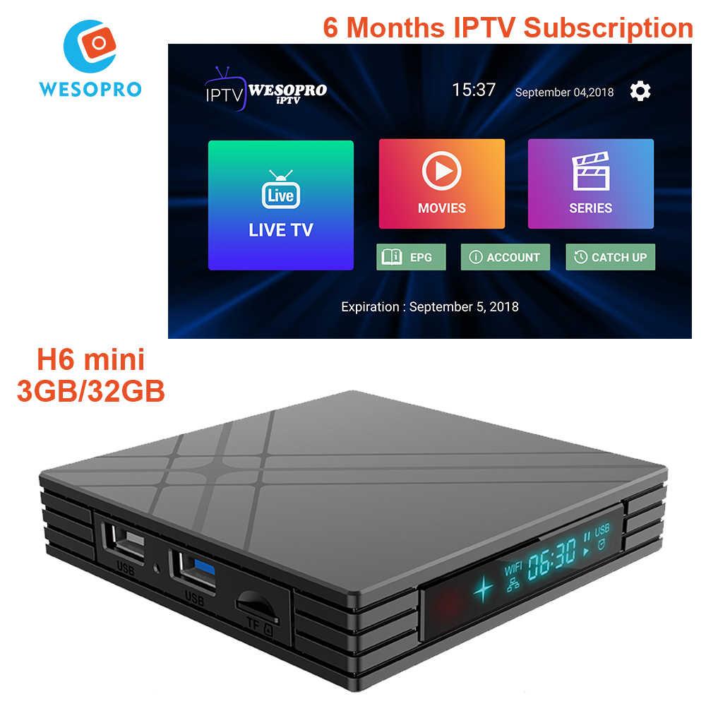 Android TV Box H6 mini avec arabe français portugais polonais allemand italie espagne néerlandais belgique suède royaume-uni CA abonnement IPTV