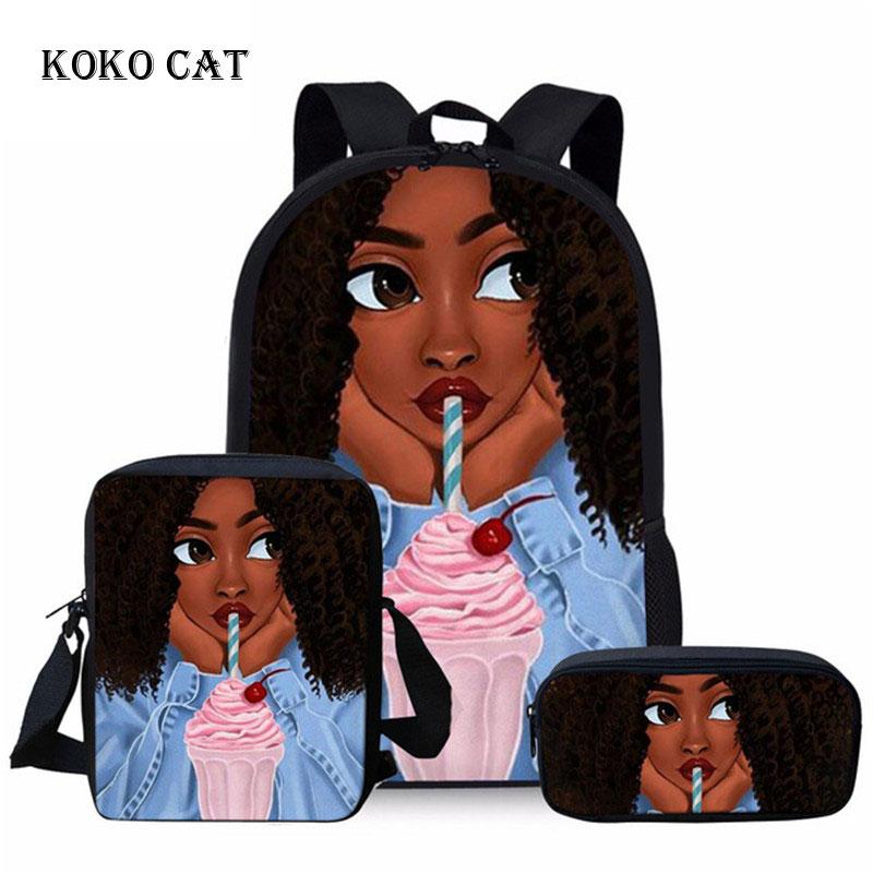 Kids School Backpack Set Black Art African Girl Printed School Bags Student Primary Orthopedics Satchel Mochila Infantil
