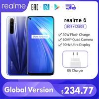 Global Version realme 6 8GB 128GB Mobile Phone Helio G90T 30W Flash Charging 4300mAh 64MP Quad Camera EU Plug Play Store NFC