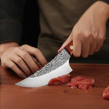 Qing 5 5 cal trybowanie serbski nóż tasak rzeźnik damasceński wzór stalowy nóż kromka noże szefa kuchni narzędzia zewnętrzne Camping grill tanie tanio STAINLESS STEEL Ekologiczne Ce ue Lfgb Chef noże 5 5 inch Boning Knife Super Anti Rust Sharp Vegetables Meat Sushi Fish Cake Cooking