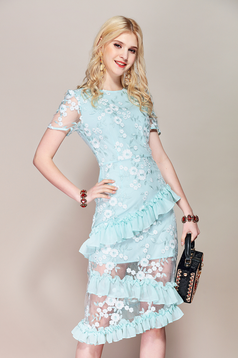 Baogarret Fashion Runway Summer Dress Womens Short Sleeve Asymmetrical Blue Mesh Flower Embroidery Ruched Rullfes