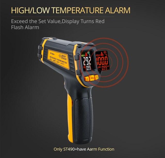 Цифровой ИК-термометр, лазерный Бесконтактный измеритель температуры и влажности с цветным ЖК-дисплеем и сигнализацией 3